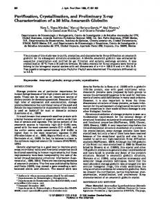 Purification, Crystallization, and Preliminary X-ray Characterization of ...