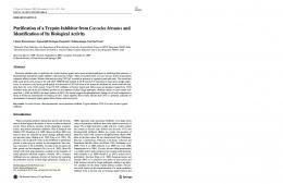 Purification of a Trypsin Inhibitor from Cocculus ... - Springer Link
