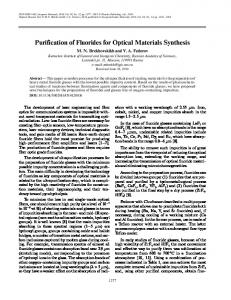 Purification of Fluorides for Optical Materials Synthesis - Springer Link