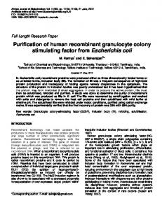 Purification of human recombinant granulocyte ... - Academic Journals