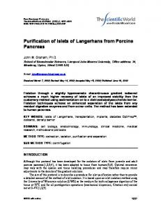Purification of Islets of Langerhans from Porcine ...