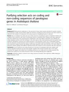 Purifying selection acts on coding and non-coding sequences ... - Core