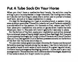 Put A Tube Sock On Your Horse