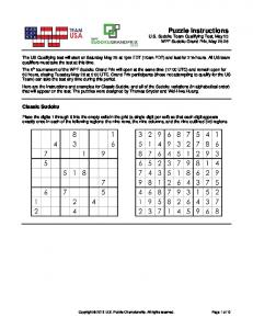 Puzzle Instructions - The World Puzzle Federation