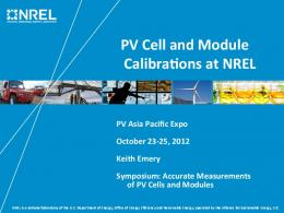 PV Cell and Module Calibra0ons at NREL
