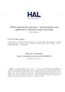 PVDF piezoelectric polymers : characterization ... - Tel Archives ouvertes