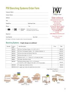 PW Benching Systems Order Form