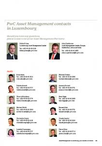 PwC Asset Management contacts in Luxembourg - PwC Luxembourg