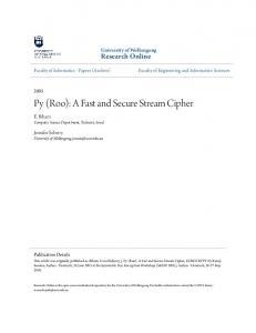 Py (Roo): A Fast and Secure Stream Cipher - Research Online - UOW