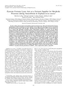 Pyruvate Formate Lyase Acts as a Formate Supplier for Metabolic ...