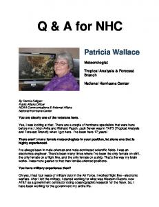 Q & A for NHC Patricia Wallace