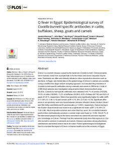 Q fever in Egypt: Epidemiological survey of Coxiella burnetii ... - PLOS