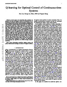 Q-learning for Optimal Control of Continuous-time Systems