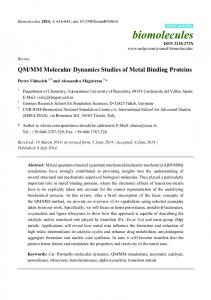 QM/MM Molecular Dynamics Studies of Metal Binding ... - BioMedSearch
