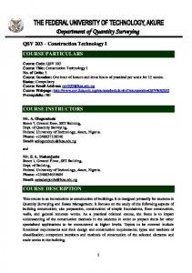 QSV 203 – Construction Technology I COURSE PARTICULARS ...