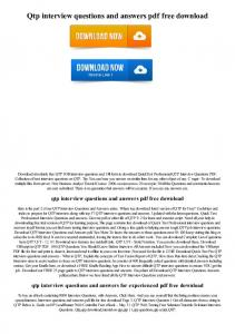 Qtp interview questions and answers pdf free download