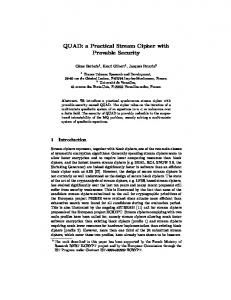 QUAD: a Practical Stream Cipher with Provable Security - CiteSeerX