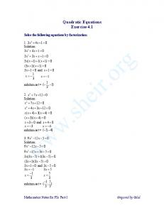 Quadratic Equations Exercise 4.1