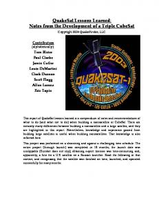 QuakeSat Lessons Learned: Notes from the Development of a Triple ...