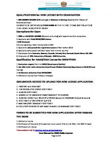 QUALIFICATIONS for NEW LICENSE WITH EXAMINATION ...