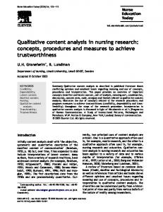Qualitative content analysis in nursing research