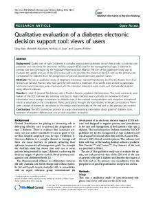 Qualitative evaluation of a diabetes electronic ... - BioMedSearch