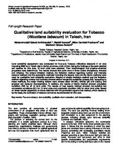 Qualitative land suitability evaluation for Tobacco