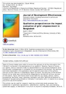 Qualitative perspectives on the impact evaluation of