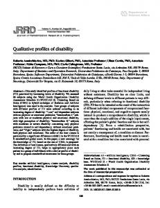 Qualitative profiles of disability - Rehabilitation Research & Development