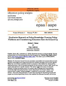 Qualitative research as policy knowledge: Framing policy problems ...