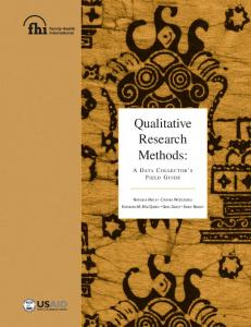 Qualitative Research Methods: A Data Collector's Filed ... - FHI 360