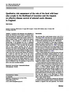 Qualitative risk assessment of the role of the feral wild boar (Sus scrofa ...