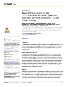 Qualitative systematic survey of definitions of clinical research ... - PLOS