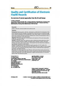 Quality and Certification of Electronic Health Records - Dr. Elske ...