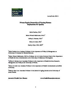 quality and financial performance of private equity owned nursing ...