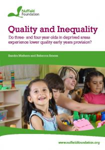 Quality and Inequality - Nuffield Foundation