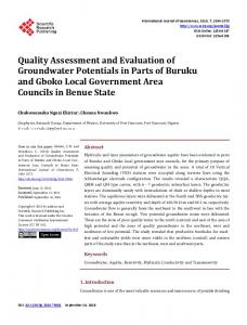Quality Assessment and Evaluation of Groundwater Potentials in Parts ...
