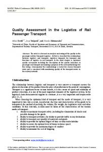 Quality Assessment in the Logistics of Rail Passenger Transport