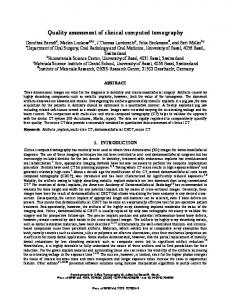 Quality assessment of clinical computed tomography