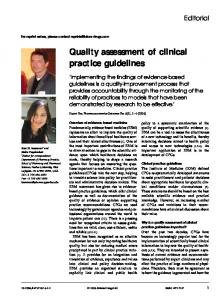 Quality assessment of clinical practice guidelines