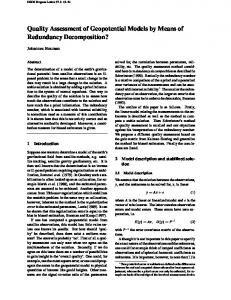 Quality Assessment of Geopotential Models by