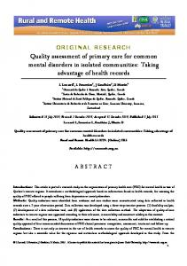 Quality assessment of primary care for common mental disorders in ...