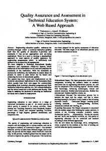 Quality Assurance and Assessment in Technical Education ... - iNEER
