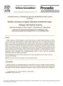 Quality assurance in higher education institutions