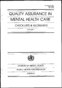 Quality Assurance in Mental Health Care - libdoc.who.int - World ...