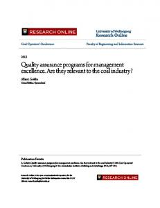 Quality assurance programs for management ... - Research Online