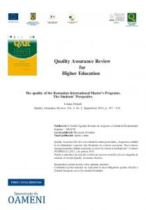 Quality Assurance Review for Higher Education - ARACIS
