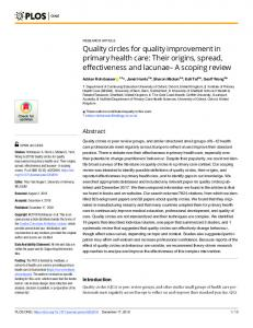 Quality circles for quality improvement in primary health care - PLOS