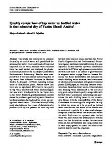 Quality comparison of tap water vs. bottled water in ...