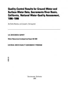 Quality-Control Results for Ground-Water and Surface-Water Data ...